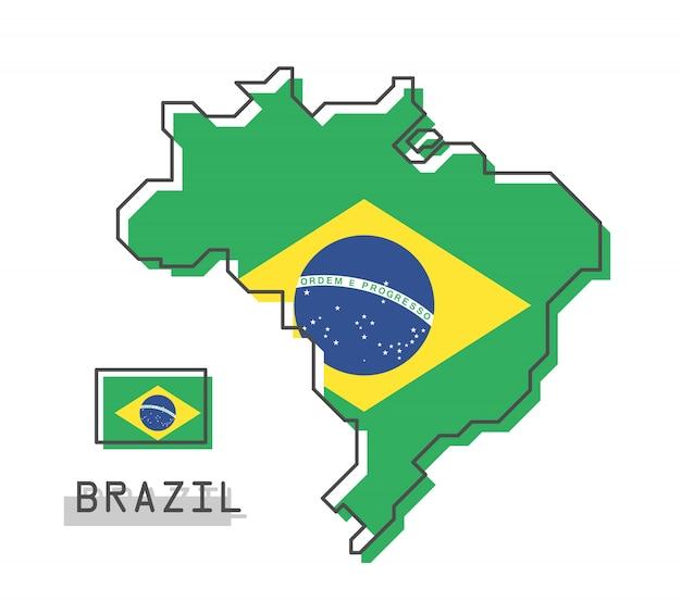 ブラジルの地図とフラグ