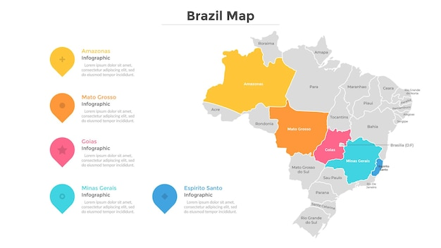 ブラジルの地図は、現代の国境を持つ州または地域に分割されています。地理的な場所の表示。インフォグラフィックデザインテンプレート。プレゼンテーション、パンフレット、観光ウェブサイトのベクトルイラスト。