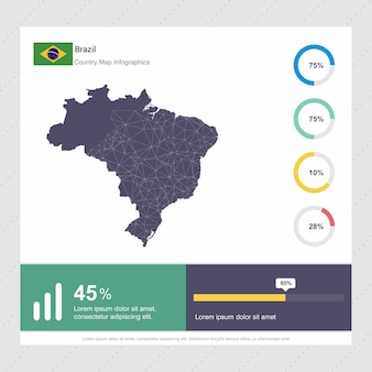 Brazil map & flag infographics template