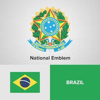 Brazil map flag and national emblem