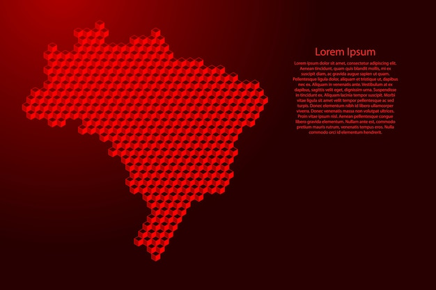 Brazil map from 3d red cubes isometric abstract concept