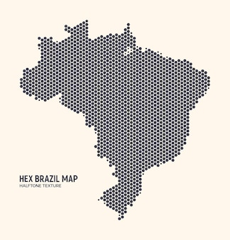 Brazil map hexagonal halftone texture on light background