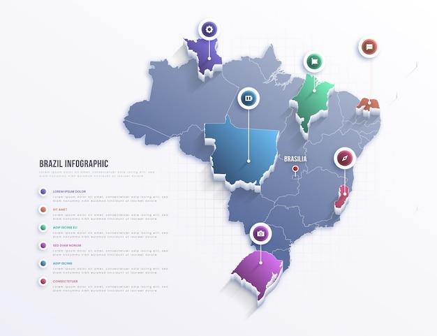 Бразилия карта инфографики