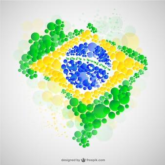 ブラジルマップフラグベクトル無料