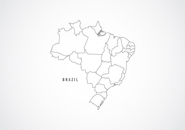 Brazil map outline on white background.