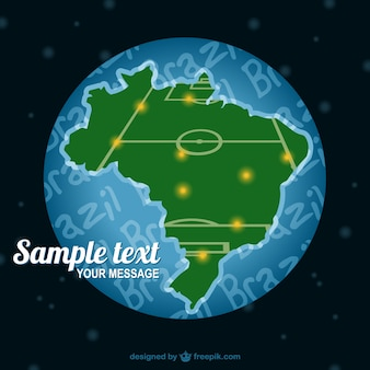 Brazil map soccer field vector