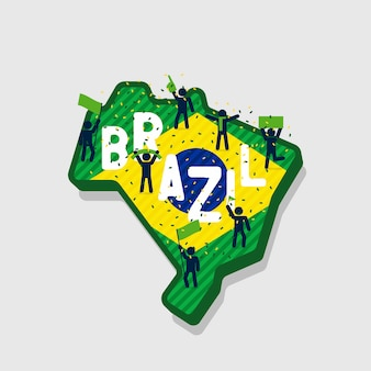 Brazil map and soccer or football fans cheering on the map.