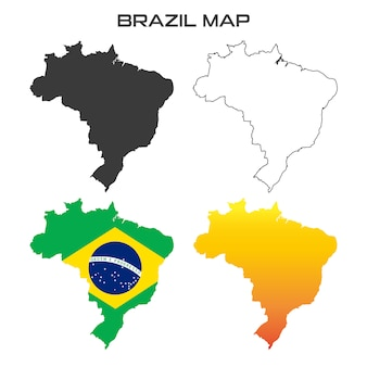 Brazil map vector flag color collection set