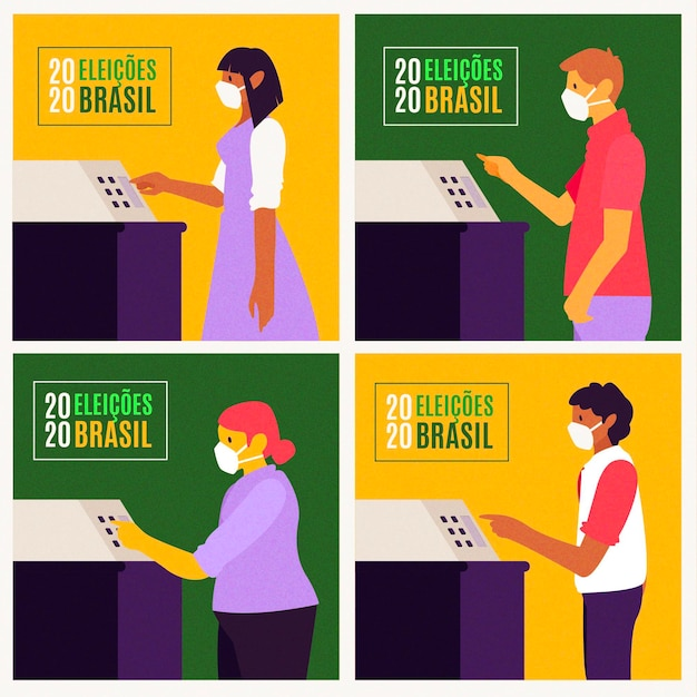 Brazil people voting queue with face mask