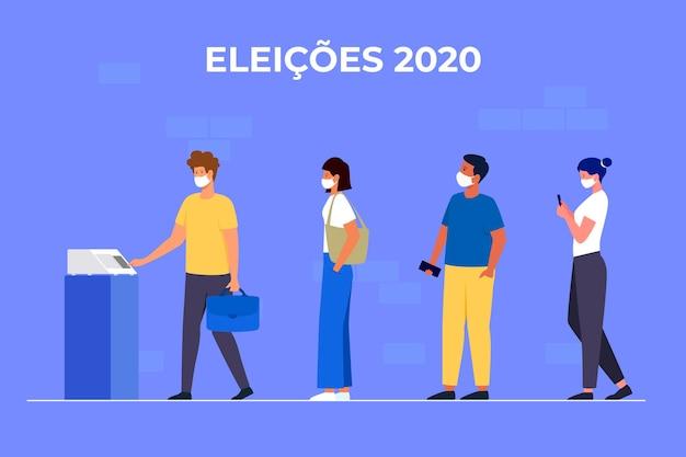 フェイスマスクでキューに投票するブラジルの人々
