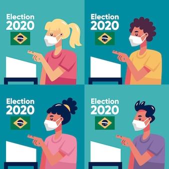 Очередь голосования людей бразилии с лицевой маской