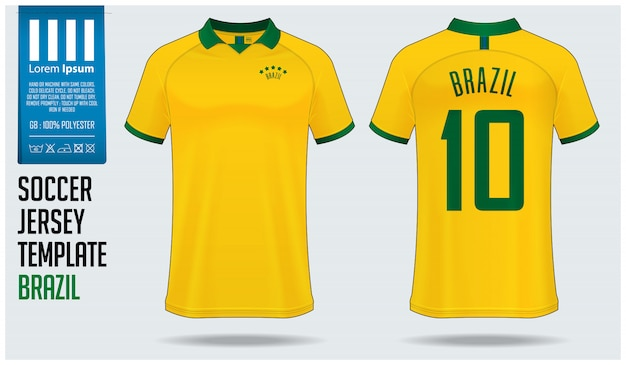 Brazil soccer jersey mockup or football kit template.