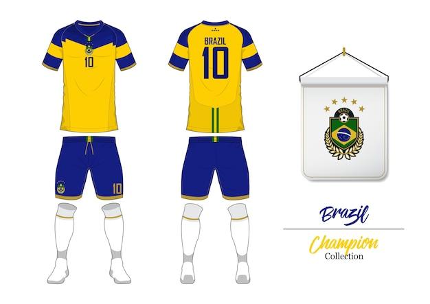 ブラジルサッカージャージーまたはフットボールキットのテンプレート。