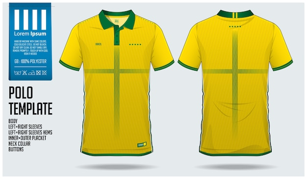 Brazil team football polo shirt sport template