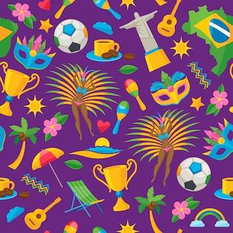 ブラジルをテーマにしたシームレスパターン