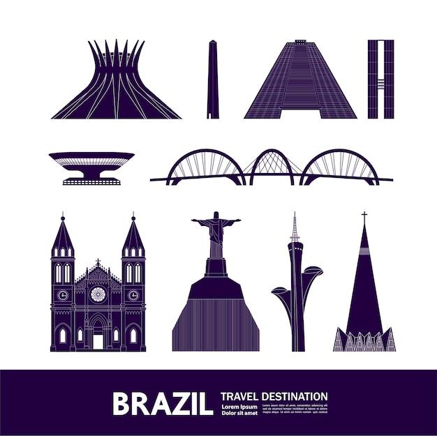 ブラジル旅行先ベクトルイラスト。