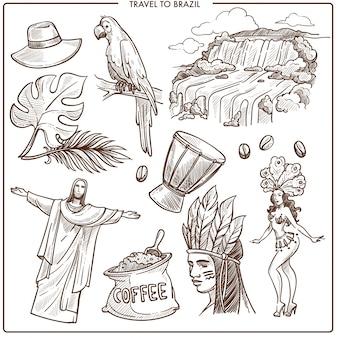 Brazil travel landmarks and famous tourism symbols