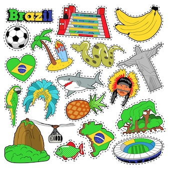 Brazil travel scrapbook stickers, patches, badges for prints with bananas, jungle and brazilian elements. comic style  doodle