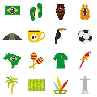 Brazil travel symbols icons set in flat style