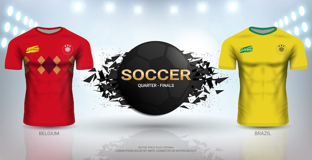 브라질 vs 벨기에 축구 유니폼 템플릿.