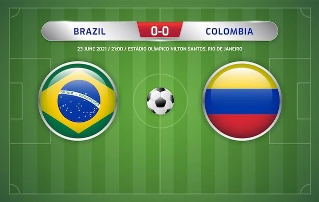 브라질 대 콜롬비아 스코어보드 방송 축구 남미 토너먼트 2021