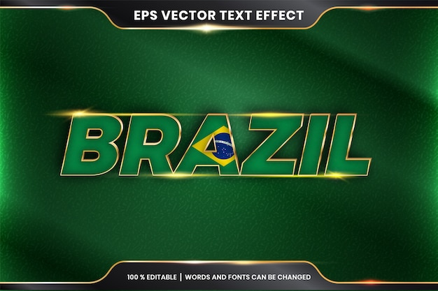 Brazil with its national country flag, editable text effect with gold color concept