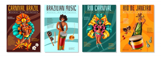 Brazilian annual carnival festival celebrations realistic colorful posters set with traditional musical instruments costumes isolated vector illustration