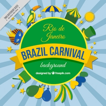 Brazilian carnival background with decorative elements