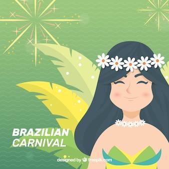 Бразильский карнавальный фон с счастливой девушкой