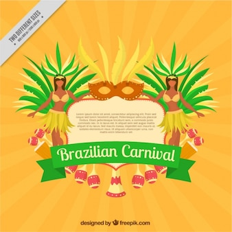 Brazilian carnival background with mask and two women