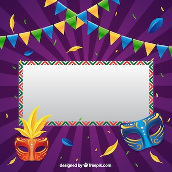 Brazilian carnival background with sign and masks