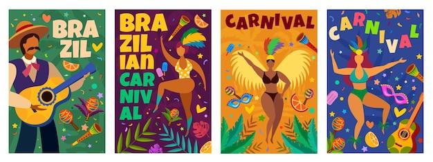 브라질 카니발. 가장 무도회 라틴계 요소가 있는 배너 댄스 퍼레이드, 댄서 및 음악가, 색종이 조각, 마스크 및 깃털 벡터 포스터. 브라질 퍼레이드 포스터 이벤트 그림