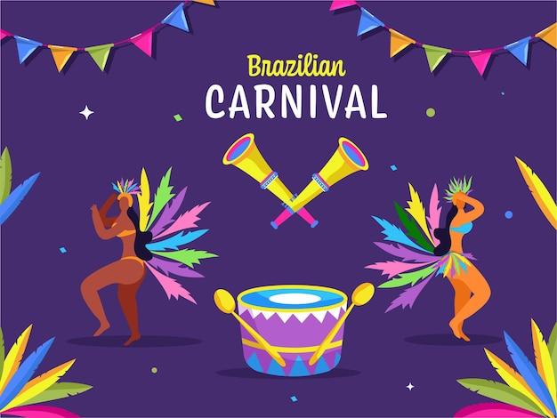女性のサンバダンサーのキャラクターとブラジルのカーニバルのお祝いの背景
