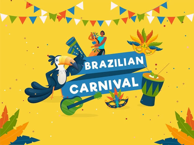 Brazilian carnival celebration concept with cartoon couple character