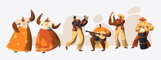 브라질 카니발 캐릭터 댄서 세트.
