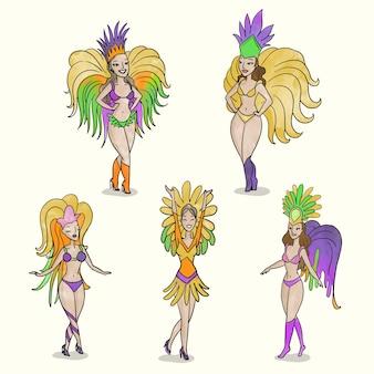 Collezione di ballerini colorati di carnevale brasiliano
