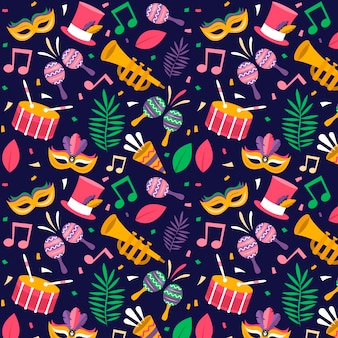 Brazilian carnival colorful pattern flat design