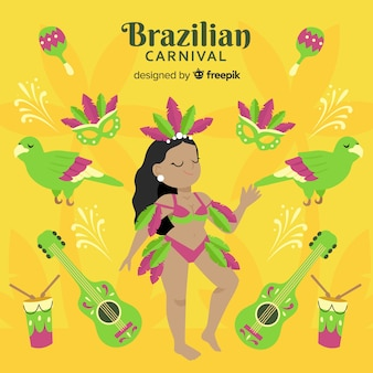 Brazilian carnival dancer background