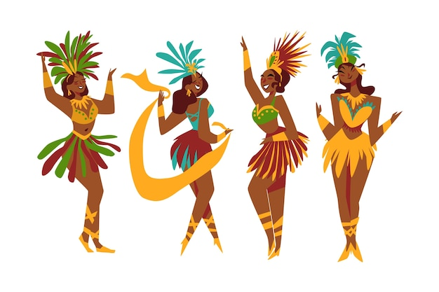 Brazilian carnival dancer collection illustrated