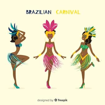 Collezione di ballerini brasiliani di carnevale