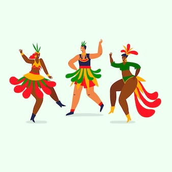 Collezione di ballerini di carnevale brasiliano