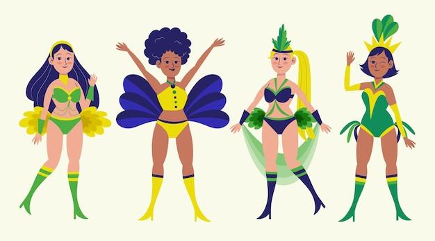 Accumulazione dell'illustrazione del ballerino di carnevale brasiliano