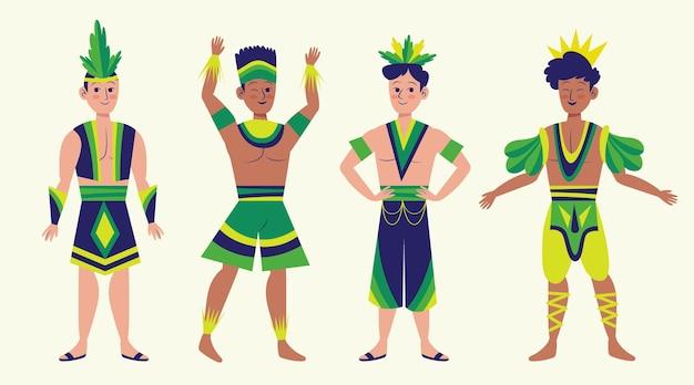 Insieme dell'illustrazione del ballerino di carnevale brasiliano