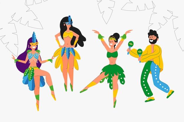 Brazilian carnival dancers collection