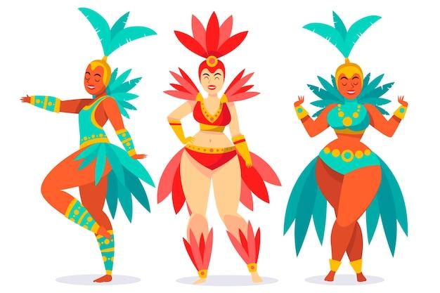 Бразильские танцоры карнавала с коллекцией костюмов