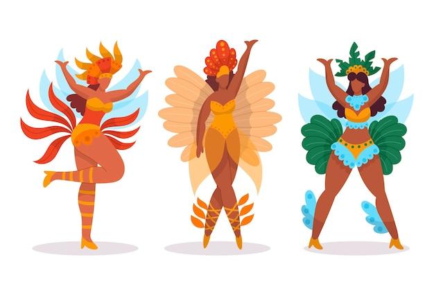 Pacchetto di ballerini di carnevale brasiliano con costumi