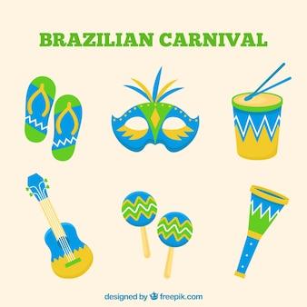 Коллекция бразильских карнавальных элементов