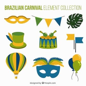 Elementi di carnevale brasiliano con dettagli verdi