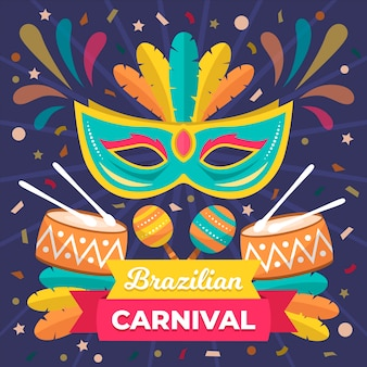 Brazilian carnival in flat design