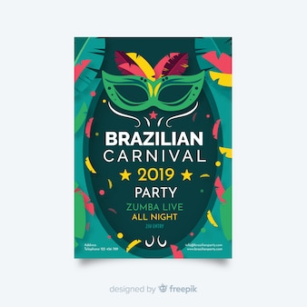 Brazilian carnival flyer party template
